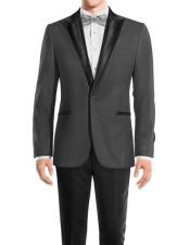 One Button Peak Black Lapel Medium Grey Wool tuxedo