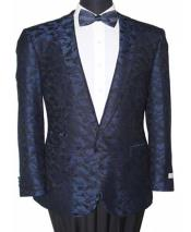 Slim Fit 1 Button Navy Notch Lapel Abstract Design Fashion Jacket