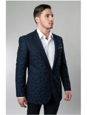 1 Button Navy Single Breasted Notch Lapel Pattern Jacket Side Vents Slim Fit  Camouflage blazer