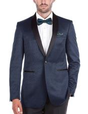Tuxedo Navy Slim Fit 1 Button Shawl Collar Side Vents Jacket