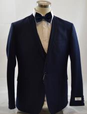 1 Button Peak Lapel Vested Dark navy suit Peak Lapel 3