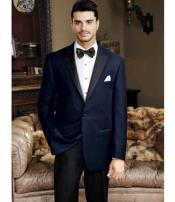 Mens Navy 1 Button Peak Lapel Velvet Slim Fit  Tuxedo
