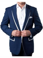 1 Button Navy Summer Blazer with White Trim Accents Tuxedo Dinner Jacket