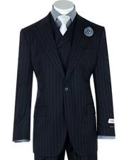 Tiglio 1 Button Dark Navy Pin-Stripe Wide Leg Pants Pure Wool Suit & Vest