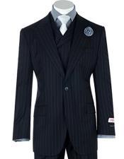 Mens Tiglio 1 Button Navy Pin-Stripe Wide Leg Pants Pure Wool Suit & Vest
