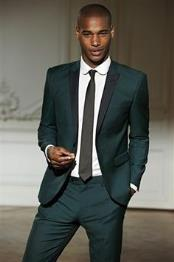 Mens Dark Olive Green ~ Hunter Army Green Tuxedo with black lapel Matching Vested Wool Fabric Suit