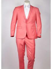 Mens One Button  Slim Fit Salmon ~ Melon ~ Peachish Pinkish