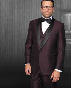 One Button Classic Three Piece  Burgundy ~ maroon ~ Wine Sharkskin Suit With Solid Black Satin