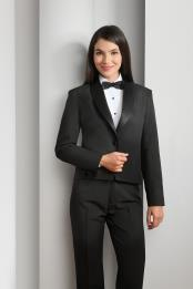 Polyester 1 Button Shawl Lapel Black Tuxedo Jacket