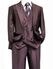 Mens One Button Peak Lapel Shiny Purple Sharkskin 3 Piece Suit With Matching Vest