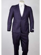 Mens One Button Slim Fit Purple  Peak Lapel Suit