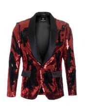 Mens Red ~ Black high fashion sequin Cheap Priced Blazer Jacket For