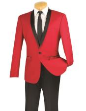 One Button red and black lapel 2 toned tuxedo Dinner Jacket