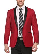 Alberto Nardoni Brand Mens 1 Button Red Shawl Lapel Stylish Casual Slim Fit Coat Blazer