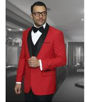 Mens Red Shawl Collar Dinner Jacket Black Lapel 1 Button Blazer Sport coat
