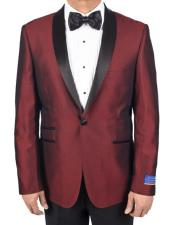 Mens Super 150s Viscose Blend Red 1 Button Tuxedo Solid Pattern Satin Shawl Lapel Dinner Jacket