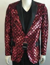 Mens Black Lapel Blazer One Button Elegant red sequin jacket