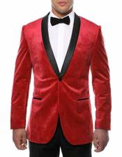 Red Two Toned With Black Lapel Side Vented  Velvet Velour Blazer