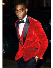 Alberto Nardoni Brand Mens Hot Red Velvet Tuxedo - Red Tuxedo