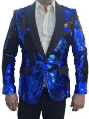 Sequin Tuxedo Jacket ~ Flashy Shiny Blazer Sport Coat Dinner Blazer Royal and Black
