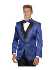 Mens 1 Button Royal Blue Floral Sateen Unique Paisley Sport Coat Wool Sequin Shiny Flashy Silky Satin