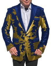 "SKU#WTX_Sequin2 Gold ~ Royal Blue ""paisley look"" Fashion Alberto Nardoni Shiny sport jacket Tuxedo"