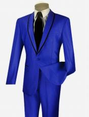 1 Button Sheened Contrasting Trim Shawl Collar Slim Fit Suit
