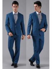 Mens 1 Button Royal Blue Slim Fit Notch Lapel Formal Wedding Tuxedo