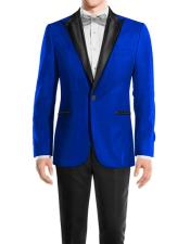 mens Royal Blue One Button Peak Black Lapel Wool tuxedo