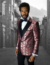 Mens Shiny ~ Shiny Paisley Red Cheap Priced Blazer Jacket For Men