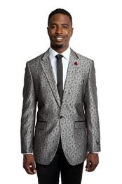 Mens Tazio 1 Button  Slim Fit Silver/Black Blazer