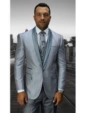 Mens 1 Button Silver Modern Fit Shawl Lapel Vested Suit