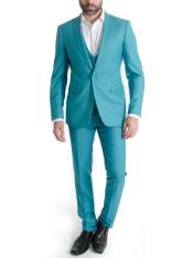 Mens Turquoise One Button Narrow Peak Lapel Spring Vested Slim Fitted 3