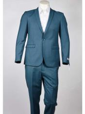 Mens Slim Fit One Button  Peak Lapel Turquoise Suit