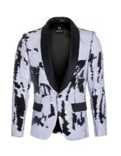 high fashion sequin White ~ Black blazer