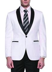 Alberto Nardoni Brand Mens White Slim Fit One Button Shawl Lapel Stylish Casual Coat Blazer
