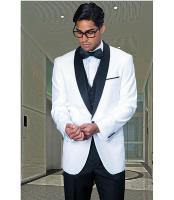 Collar Dinner Jacket 1 Button Blazer Sport coat Black Lapel White