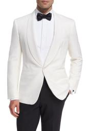 Albertof Nardoni Brand Snow White Pure Wool Dinner Shawl Collar Jacket Blazer & Sport Coat