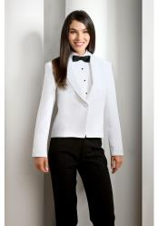 Womens White Solid Polyester 1 Button Shawl Lapel Tuxedo Jacket