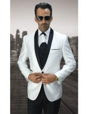 1 Button White Modern Fit Black Shawl Lapel Vested Suit