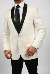 White~Ivory~Cream & Black Shawl Tuxedo Dinner Jacket + Black Pants & White Shirt & Black Tie