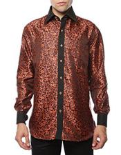 Shiny Satin Floral Spread Collar Paisley Dress Shirt Flashy Stage Colored Two Toned  Woven Casual Orange-Black