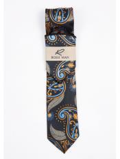 Black Fashionable Orange/Blue Paisley