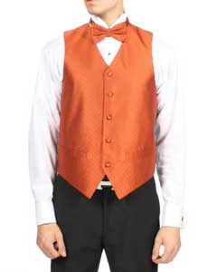 Mens Tangerine Orange Diamond Pattern 4-Piece Vest Set Also available in Big and Tall Sizes