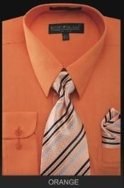 Mens Dress Shirt - PREMIUM TIE - Orange