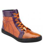 Mens Lace Up Orange ~ Purple Genuine Crocodile High Top Sneakers