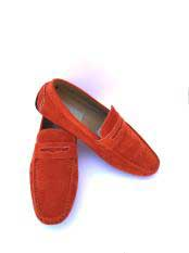 Mens Slip-On Style Solid Orange ~ Rust ~ Cognac Fashionable Loafers