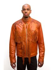 Mens Orange Zip closure Leather Jacket with Fringes and World Best