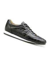 Genuine Ostrich Black Leather Lining Rubber Sole belvedere Tennis Sneaker Shoes