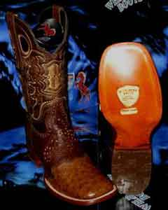 Genuine Ostrich Square Brown Rodeo Western Cowboy Boot